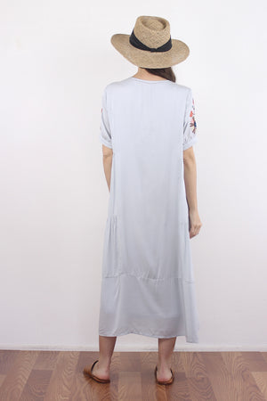Embroidered mumu dress in silver. Image 4
