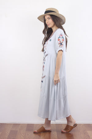 Embroidered mumu dress in silver. Image 2