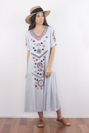 Embroidered mumu dress in silver. Image 3