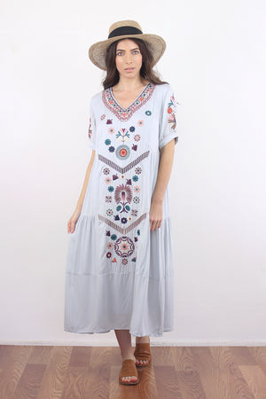 Embroidered midi dress in silver. Image 5