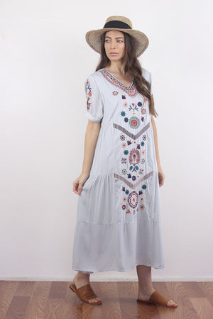 Embroidered mumu dress in silver.