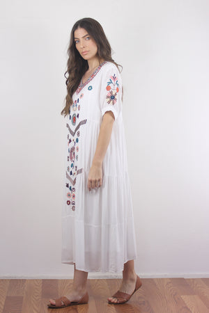 Embroidered mumu dress in white. Image 3