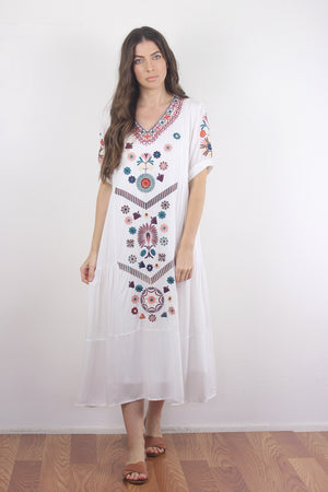 Embroidered mumu dress in white. Image 2
