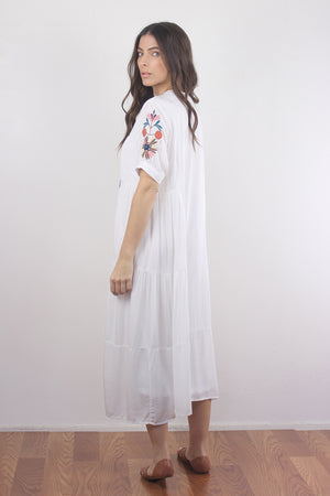 Embroidered mumu dress in white. Image 5