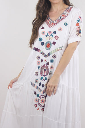 Embroidered mumu dress in white. Image 6