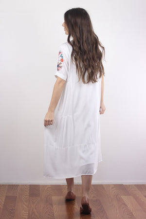 Embroidered mumu dress in white. Image 4