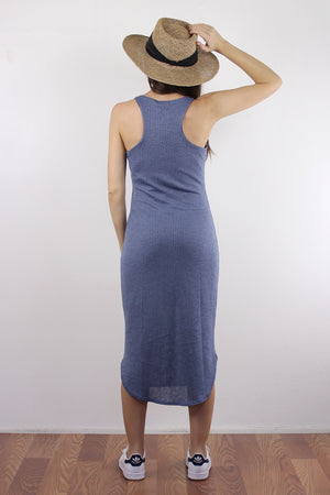 Fitted knit mid length dress, in Dusty Blue. Image 2