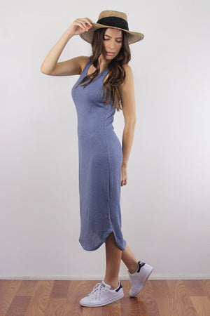 Fitted knit mid length dress, in Dusty Blue. Image 3