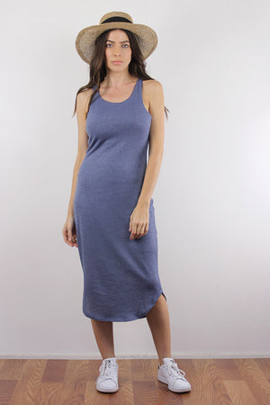 Fitted knit mid length dress, in Dusty Blue. Image 4