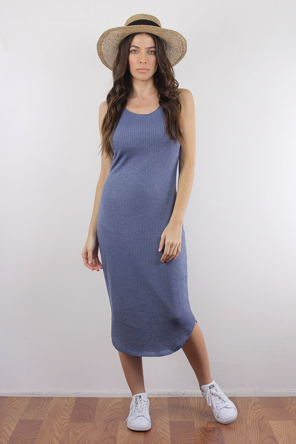 Fitted knit mid length dress, in Dusty Blue. Image 5