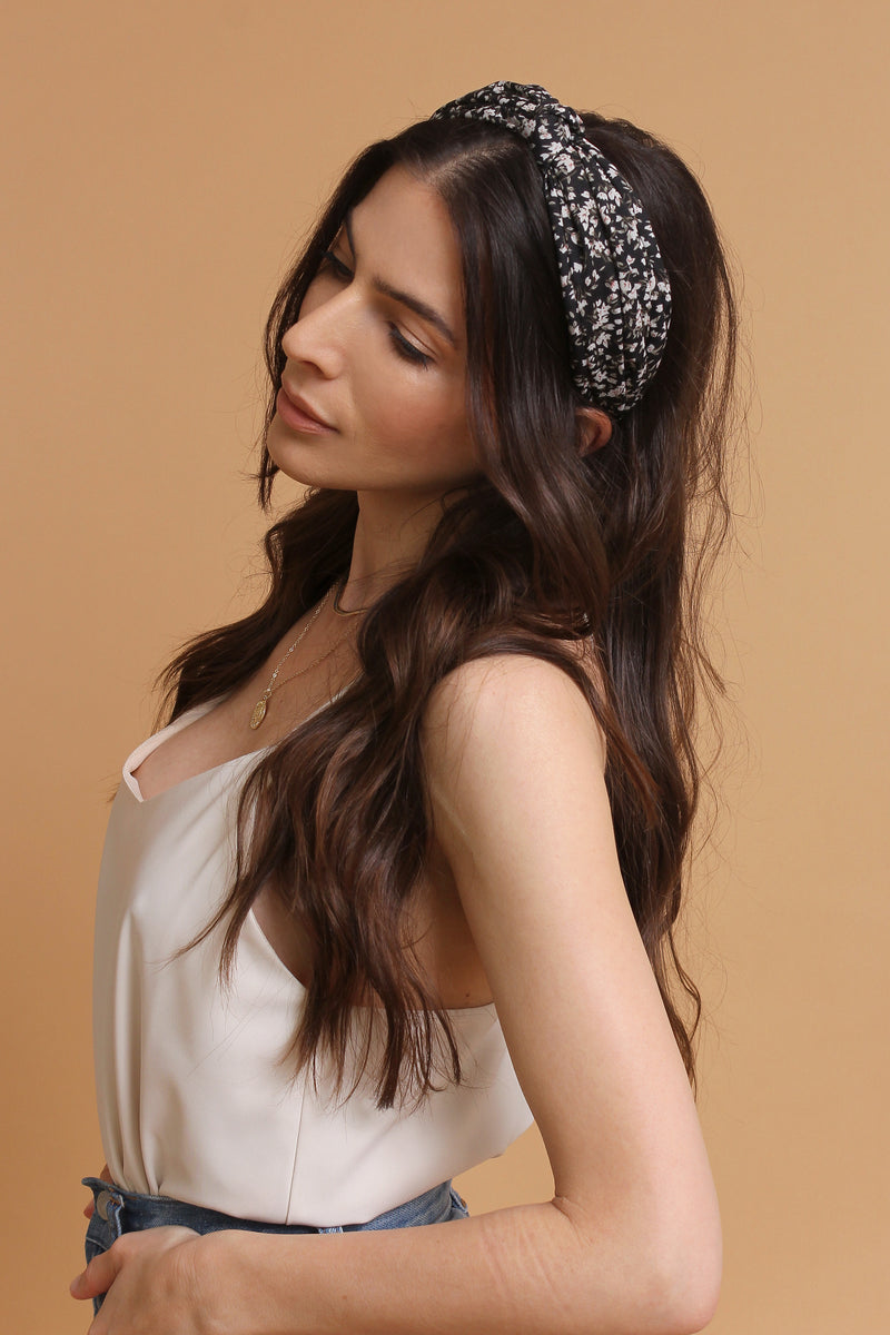 Floral headband, in Black. Image 5