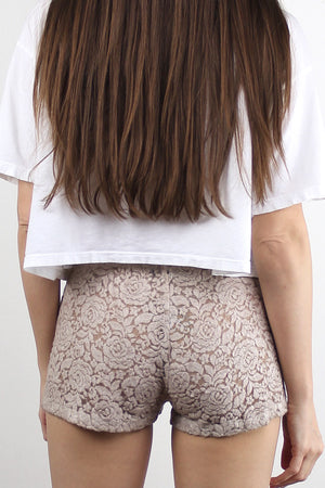 Floral textured pull on shorts, in beige. Image 2