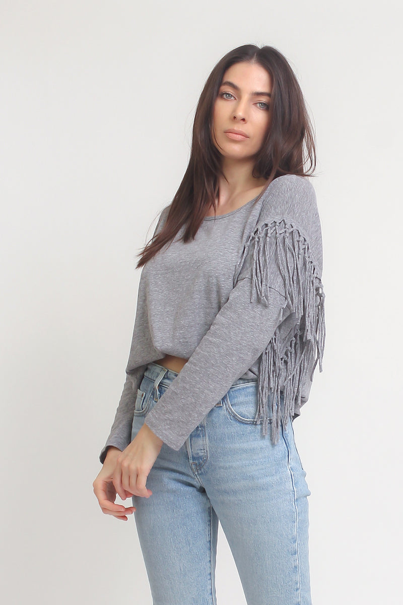Fringe tee shirt, in Heather Grey. Image 10