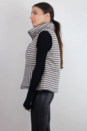 Grey striped puffer vest. Image 3