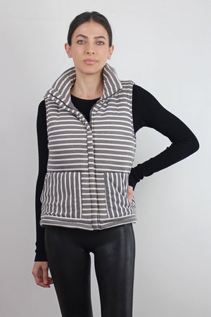 Grey striped puffer vest. Image 5