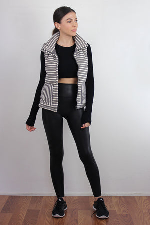 Grey striped puffer vest. Image 7