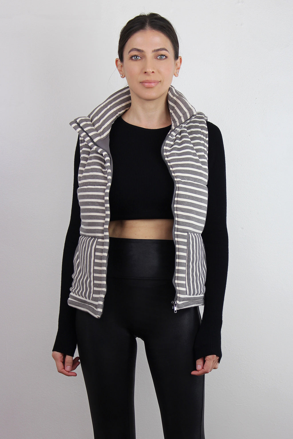 Grey striped puffer vest. Image 2