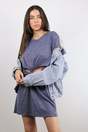 Tee shirt dress with cut out knot front, in Denim Blue. Image 2