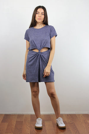 Tee shirt dress with cut out knot front, in Denim Blue. Image 3