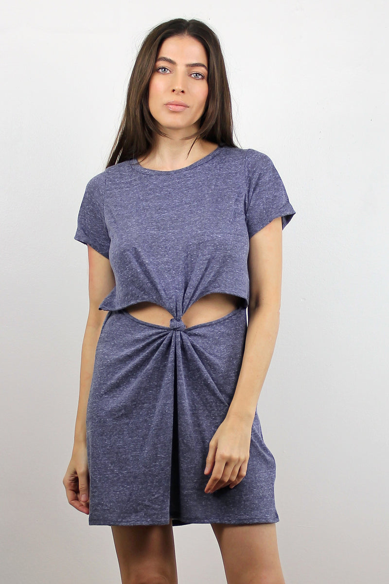 Tee shirt dress with cut out knot front, in Denim Blue. Image  7