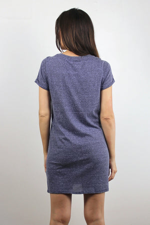 Tee shirt dress with cut out knot front, in Denim Blue. Image 5