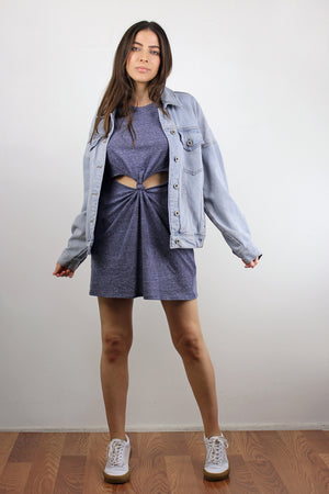 Tee shirt dress with cut out knot front, in Denim Blue.