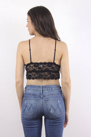Lace bralette crop in Black. 1