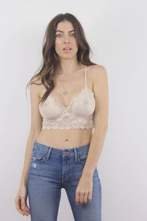 Lace bralette crop in Sand. 2