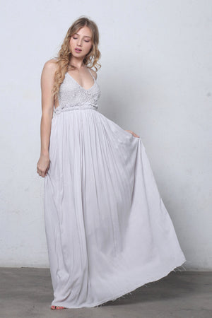 Lace bust maxi dress with open back in Silver-1