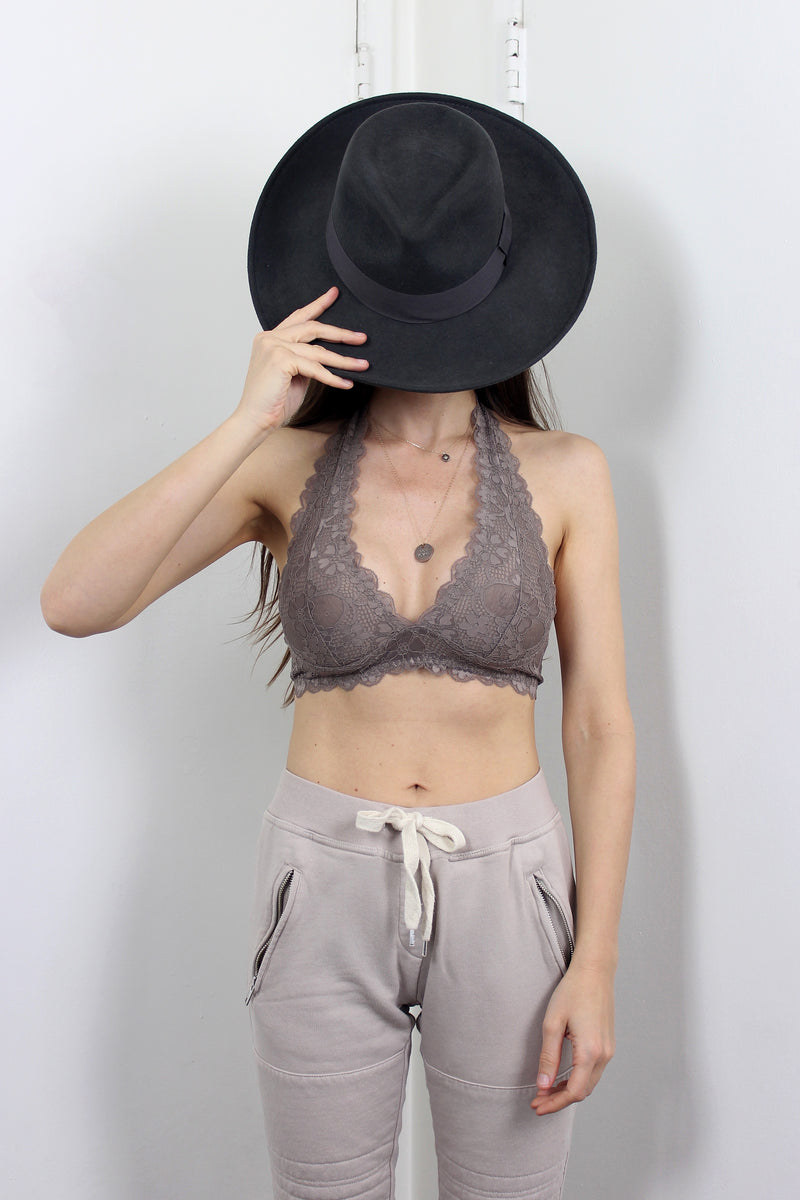 Lace halter bralette with adjustable hook back, in mocha.