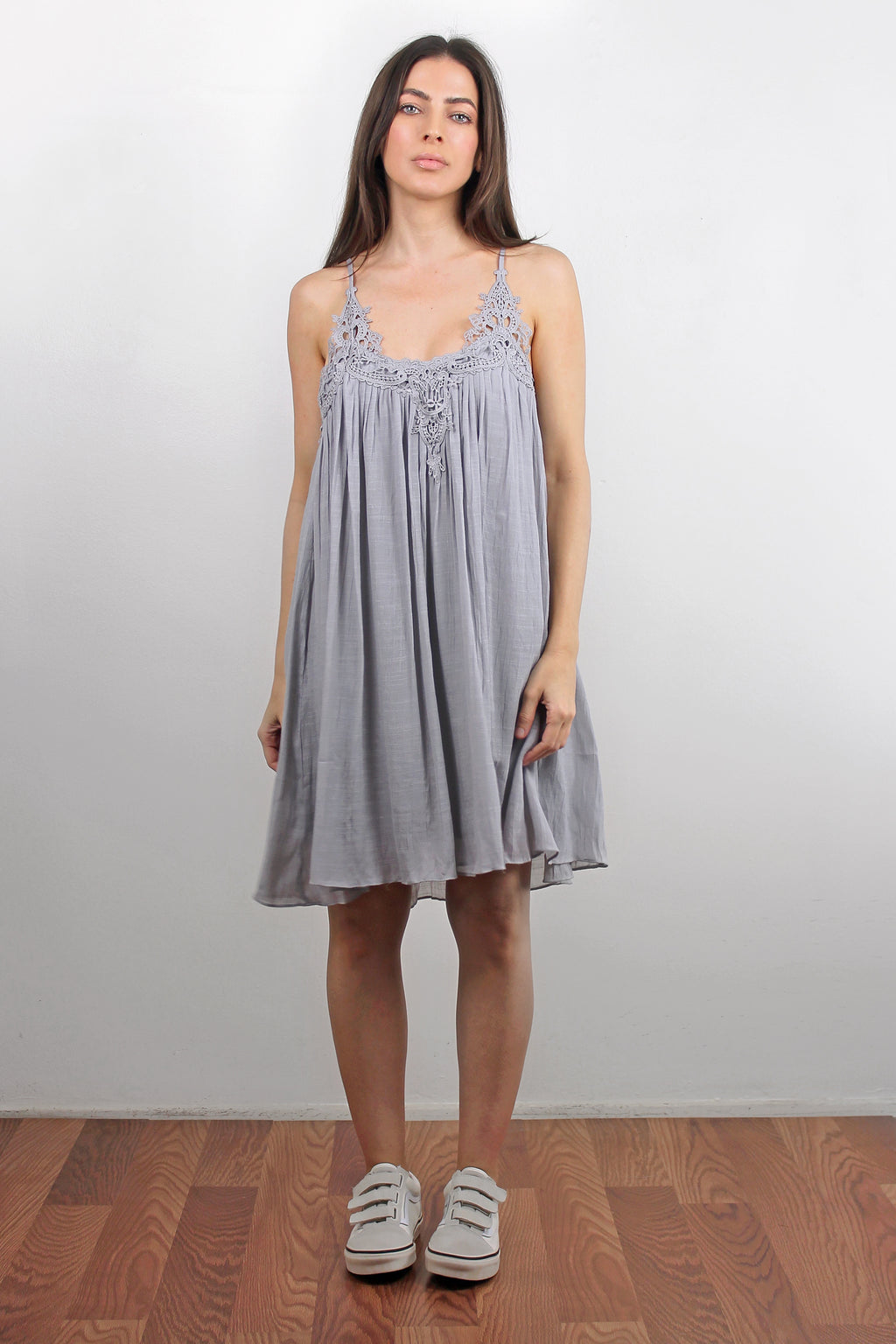 Lace inset dress, in Silver.