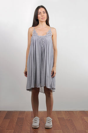 Lace inset dress, in Silver. Image 3