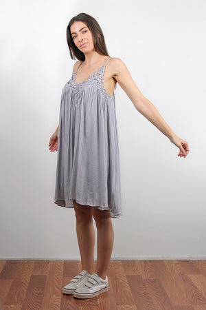 Lace inset dress, in Silver. Image 4