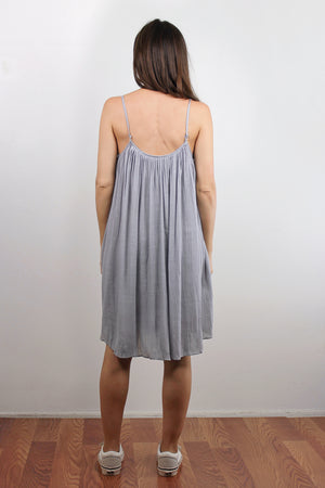 Lace inset dress, in Silver. Image 5