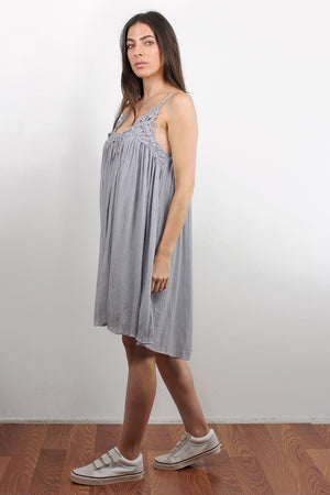 Lace inset dress, in Silver. Image 2