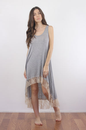 Lace trim nightgown with high low hem.