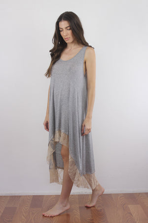Lace trim nightgown with high low hem. 1