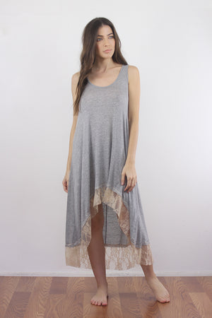 Lace trim nightgown with high low hem. 3