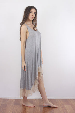 Lace trim nightgown with high low hem. 4