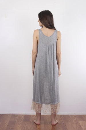 Lace trim nightgown with high low hem. 2