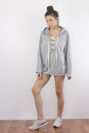 Lace up hooded sweatshirt in Grey. 2