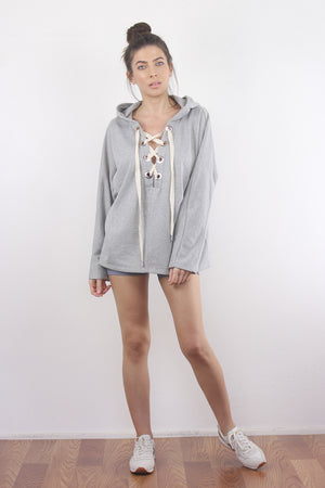 Lace up hooded sweatshirt in Grey. 3