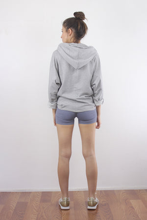 Lace up hooded sweatshirt in Grey. 4