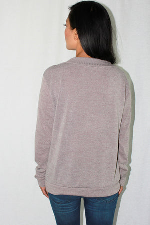 Taupe lace up knit top. 3