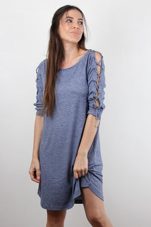 Lace up sleeve dress with pockets, in Blue. Image 2