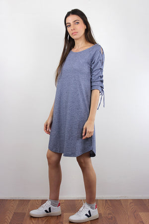 Lace up sleeve dress with pockets, in Blue. Image 3