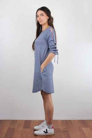 Lace up sleeve dress with pockets, in Blue. Image 4