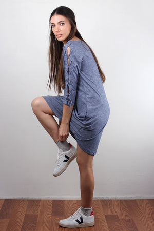 Lace up sleeve dress with pockets, in Blue. Image 5
