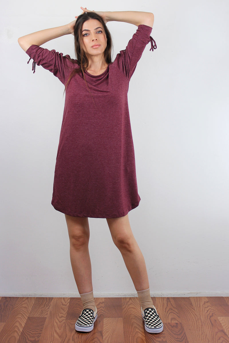 Lace up sleeve dress with pockets, in Burgundy. Image 2