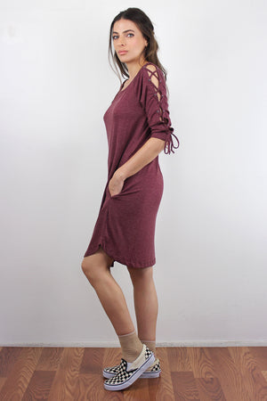 Lace up sleeve dress with pockets, in Burgundy. Image 3